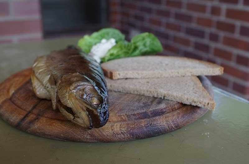 Forelle mit Brot und Meerrettich