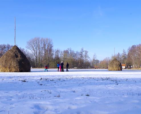 auf Lehder Wiesen im Winter mit Schlittschuh unterwegs